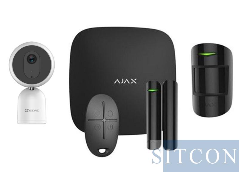 Ajax Alarmsysteem Zwart + IP binnencamera SMART